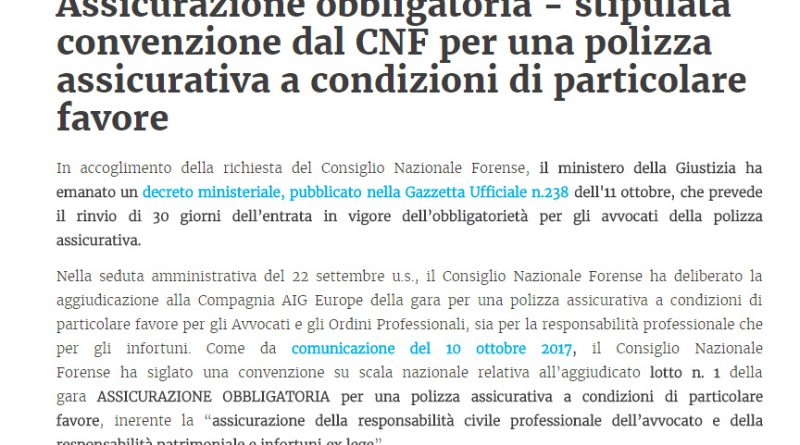 assicurazione obbligatoria - stipulata convenzione dal cnf per una